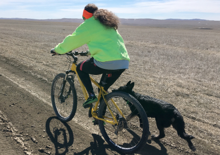 Tabaliah with Marna Biking on Prairie 2017-03-18